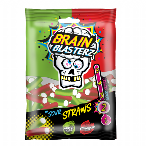Sour Straws Brain Blasterz - Candy Sweets Bon Bon Buddies 100g
